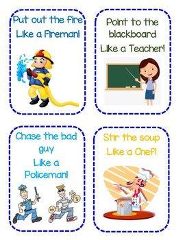 Community Helper Gross Motor Cards Community Helpers Preschool Community Helpers Theme Community Helpers Preschool Activities