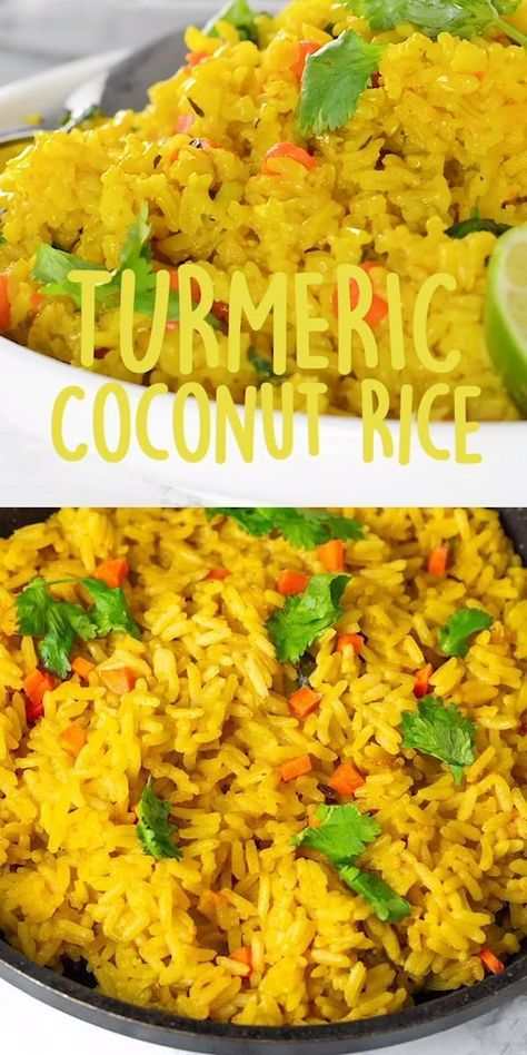 this delicious and healthy Turmeric Coconut Rice for your next meal. Enjoy this delicious and healthy Turmeric Coconut Rice for your next meal. Enjoy this delicious and healthy Turmeric Coconut Rice for your next meal. Veggie Recipes, Indian Food Recipes, Asian Recipes, Whole Food Recipes, Healthy Recipes, Vegan Brown Rice Recipes, Jamaican Recipes, Recipes With Coconut Milk, Easy Recipes