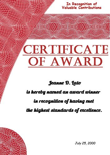 Create your own Certificate of Award with Poster Designer software - computer certificate format