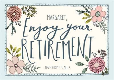 Retirement Card Floral Illustration With Bees Giant Size By Moonpig Floral Illustrations Holiday Flyer Design Retirement Cards
