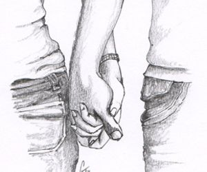 Imagen de couple, drawing, and hands