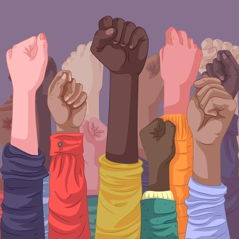 Multiracial raised fists concept | Free Vector #Freepik #freevector #people