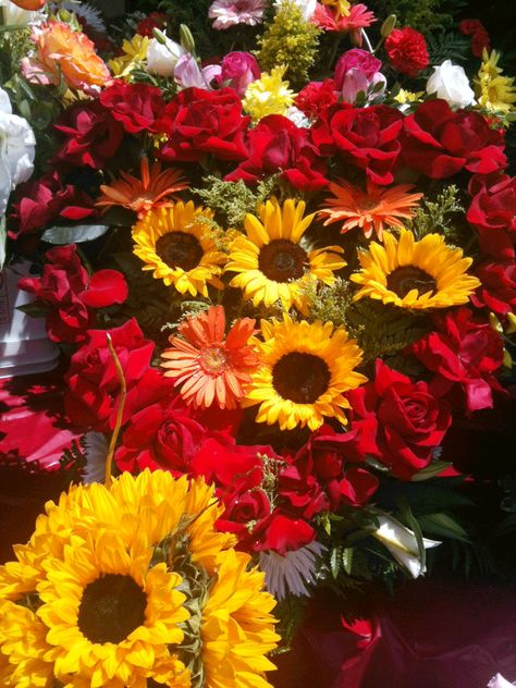 Sunflower and red rose heart arrangement