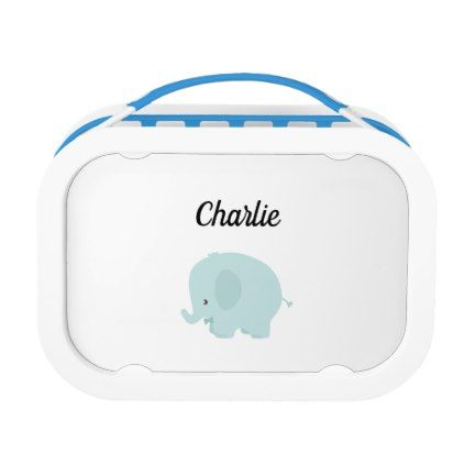 Baby Elephant Blue White Name Template Cute Lunch Box Cute Lunch Boxes Elephant Gifts Baby Elephant Images