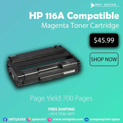 HP 116A Compatible Magenta Toner Cartridge with free shipping all over Qatar.