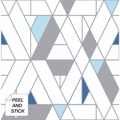 Nextwall 30 75 Sq Ft Blue And Grey Kaleidoscope Geometric Self Adhesive Peel And Stick Wallpaper Lowes Com In 2021 Peel And Stick Wallpaper Vinyl Wallpaper Geometric Wall Paint