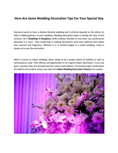 Here are some wedding decoration tips for your special day here are some wedding decoration tips for your special day decoration flower decoration and weddings junglespirit Gallery