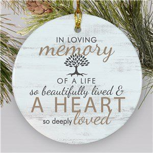 Memorial Ornament With Tree In Memory Of A Life Ornament Remembrance Gifts Personalized Memorial Gifts Memorial Ornaments