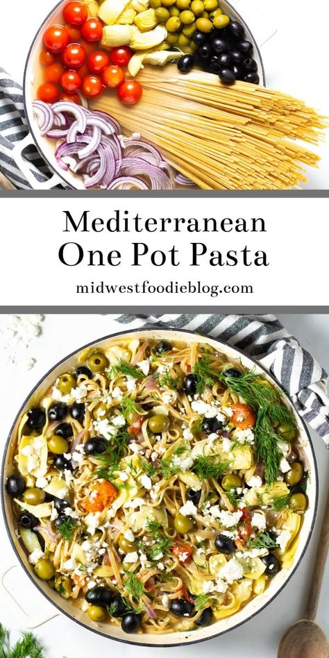 Mediterranean One Pot Pasta Midwest Foodie This one pot Greek pasta is loaded with veggies and your favorite Mediterranean flavors Its a 20 minute meal from start to fi. Easy Mediterranean Diet Recipes, Mediterranean Pasta, Pasta Dinner Recipes, Simple Pasta Recipes, Meatless Pasta Recipes, Vegetable Pasta Recipes, Light Recipes, Greek Pasta, One Pot Pasta
