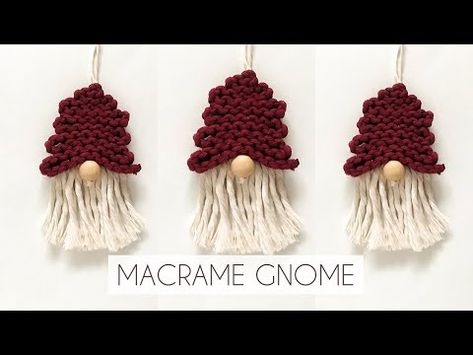 DIY: MACRAME GNOME | HOW TO TURN MY MACRAME TREE INTO A SANTA GNOME | PART 2 | GNOME X-MAS ORNAMENT - YouTube Crochet Christmas Decorations, Diy Christmas Ornaments, Holiday Crafts, Christmas Star, Yarn Crafts, Sewing Crafts, Diy Macrame Earrings, Macrame Owl, Macrame Projects