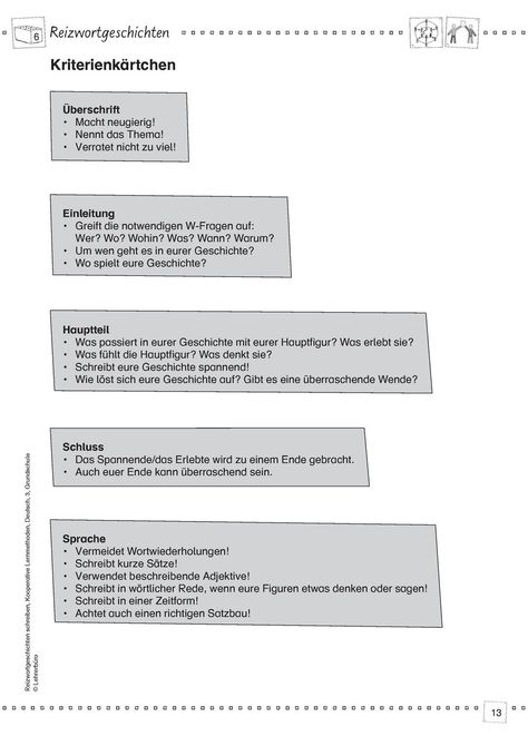 Reizwortgeschichte Arbeitsblatter Lehrerburo Deutsch Unterricht Schule Lehrerburo