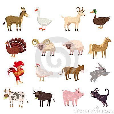 Farm Animals Cute Set In Cartoon Style Isolated On White Background Vector Illustration Cute Cartoon Anim Cute Cartoon Animals Cartoon Animals Cartoon Styles