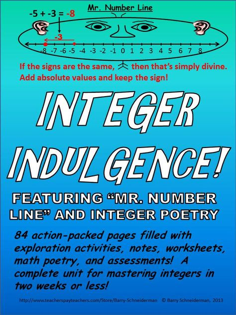 Integers Unit - Subtracting, Adding, Dividing, Multiplying, Word