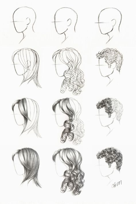 Drawing hair tutorial. Love the curls. #art #drawing #lesson