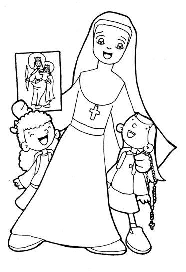 Virgen Y Santos Para Colorear Hijas De Maria Auxiliadora Boceto
