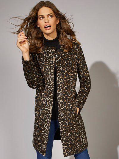 detailing best website good service Collarless Leopard Print Coat | Women's Long Coats | M&Co ...