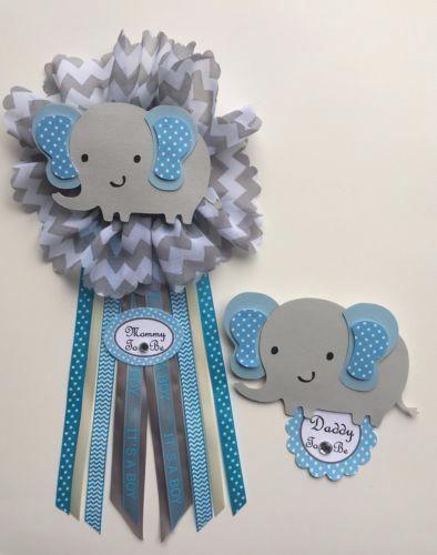 Baby Shower Corsage Elefante Tema Azul Y Gris De Elefante 2 Un Listo Para Usar Elephant Baby Shower Theme Elephant Baby Shower Boy Baby Shower Corsage