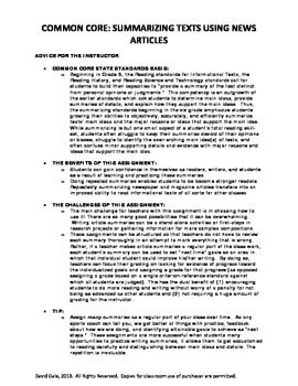 Common Core: Summarizing Informational Texts using News Articles (Lesson)