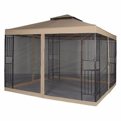 Patio Gazebo Canopy 10 X 10 Ft Backyard Double Roof Vented With Mosquito Netting Pergola Patio Gazebo Pergola Designs