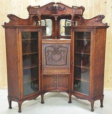 Rare Fantastic 1890 S Corner Double Curved Glass Secratary Alte Mobel Jugendstil Mobel Vintage Mobel