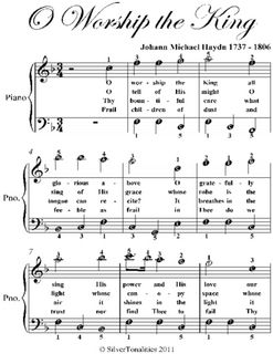 O Worship The King Easy Piano Sheet Music Pdf With Images