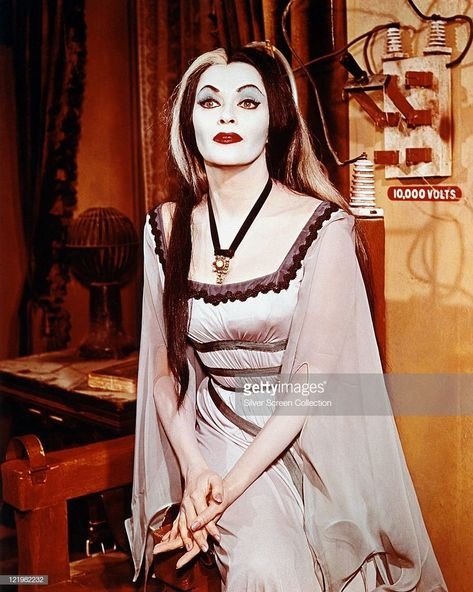 Yvonne De Carlo (1922-2007), Canadian actress, in costume and make-up in a publicity portrait issued for the television series, 'The Munsters', circa 1965. The sitcom starred De Carlo as 'Lily Munster'.