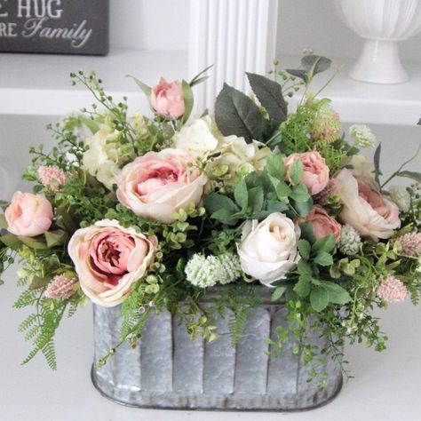 SimplyStems shared a new photo on Etsy - Lovely French Country/Cottage centerpiece You are in the right place about garden Here we offer you - Hortensien Arrangements, Spring Flower Arrangements, Beautiful Flower Arrangements, Elegant Flowers, Floral Centerpieces, Spring Flowers, Silk Flowers, Beautiful Flowers, Wedding Centerpieces