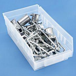 clear plastic shelf bins in stock uline