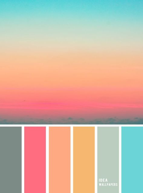 Pink Peach Blue sky inspired color palette, peach color combination