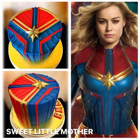 Captain Marvel Cake Marvel Birthday Party Avengers Birthday Party Food Marvel Cake