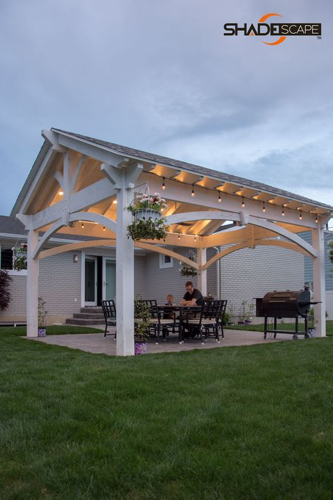 Pieces fit together, dovetailed and mortise, interlocking joint system. A ShadeScape® shade structure from Western Timber Frame™ is a piece of cake. Budget Patio, Small Patio Ideas On A Budget, Back Patio Kitchen Ideas, Covered Deck Ideas On A Budget, Front Patio Ideas, Covered Deck Designs, Outdoor Kitchen Kits, Front Yard Patio, Covered Patio Design