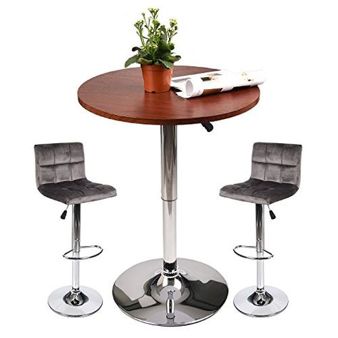 a598f545ed2 Bar Table and Stools Set – Round Top Pub Table with 2 Adjustable Bar Stools  for Home Kitchen (Set E)