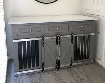 Rustic Dog Crate With Drawers Sliding Barn Doors Crate With