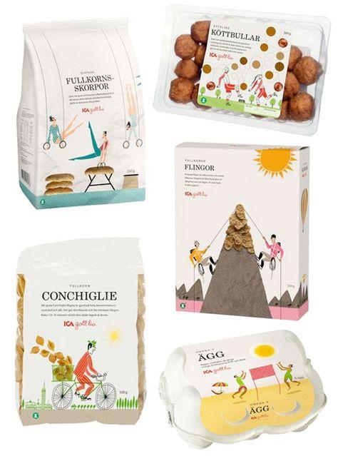 Packaging for Swedish food brand ICA, by Klas Fahlen.
