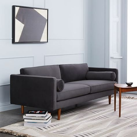 Monroe Mid-Century Sofa, Heathered Crosshatch, Feather Gray At West Elm - Sofas & Loveseats - Couches