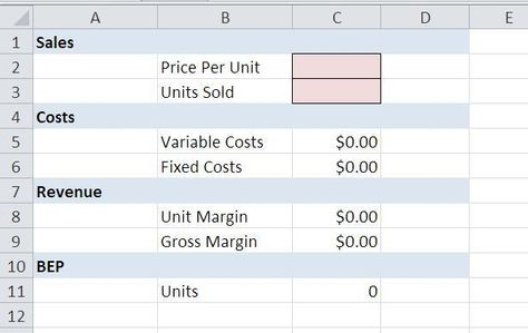10 steps to creating a simple break-even template in Excel Excel - breakeven template