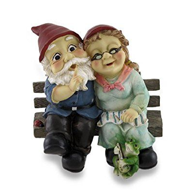 Mr And Mrs Gnome Couple Happily Sitting On A Bench Statue Amazon Co Uk Kitchen Home Gnomes Statue Happily