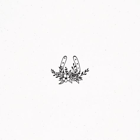 Branding and Graphic Design by IreneFlorentina - Horse Shoe Flower Floral Botanical Illustration Leaves Branch Twig Luck Lucky Design Logos Premade - Shoe Tattoos, Mini Tattoos, Flower Tattoos, Small Tattoos, Tatoos, Small Horse Tattoo, Horse Tattoo Design, Tattoo Designs, Tattoo Horse