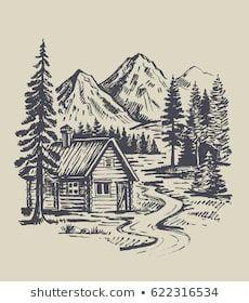Similar Images Stock Photos Vectors Of House Mountain Snow Landscape Hand Drawn 562 Landscape Drawings Landscape Pencil Drawings Landscape Design Drawings