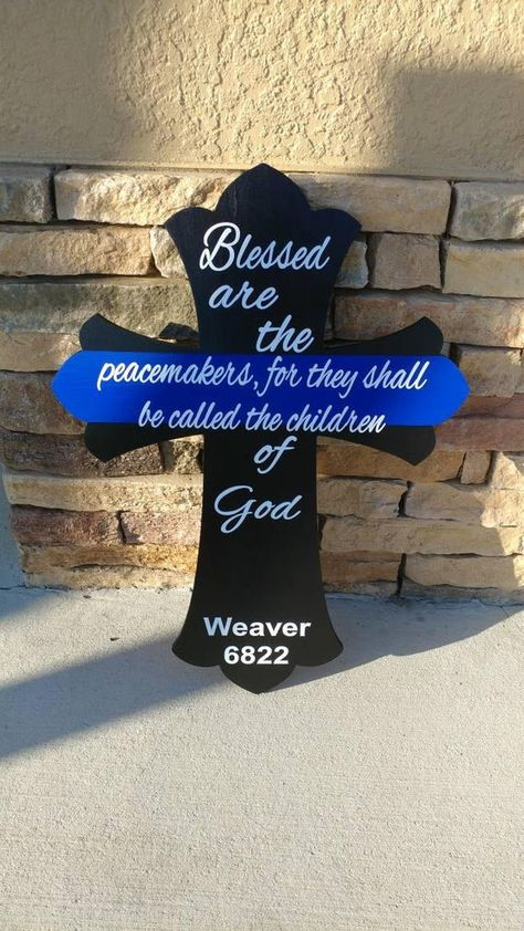 Thin Blue Line Cross, 24 x 18 Wood Cross, Blessed are the peacemakers, Police officer gifts, Thin Bl
