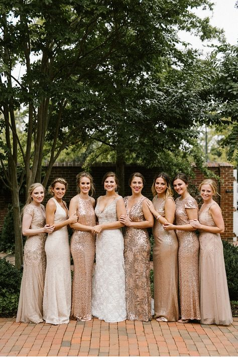 Romantic Tidewater Inn Wedding Beautiful mismatched gold and rose gold bridesmaid dresses with sequins