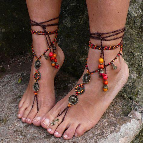 FEUERMANDALA barfuss Sandalen Fuss Schmuck Hippie Sandalen Zehe Fußkette Perlen häkeln barfuß Stammes-Sandale Festival Acai Samen Yoga Hochzeit