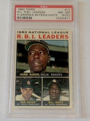 1964 Topps 11 Nl Rbi Leaders Psa Graded 8 Oc Baseball Card By Topps 44 99 Psa Graded 8 Oc Free First Class S Ken Boyer Baseball Cards St Louis Cardinals