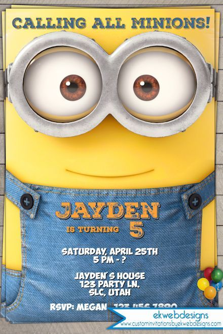 This Instant Downloadable is for a Minions Birthday Invitation - downloadable birthday invitation templates