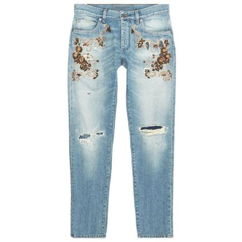Dolce & Gabbana Embellished Ripped Knee Slim Leg Jeans ($1,685) ❤ liked on Polyvore featuring men's fashion, men's clothing, men's jeans, jeans, mens destroyed jeans, dolce gabbana mens jeans, mens light wash jeans, mens ripped jeans and mens distressed jeans
