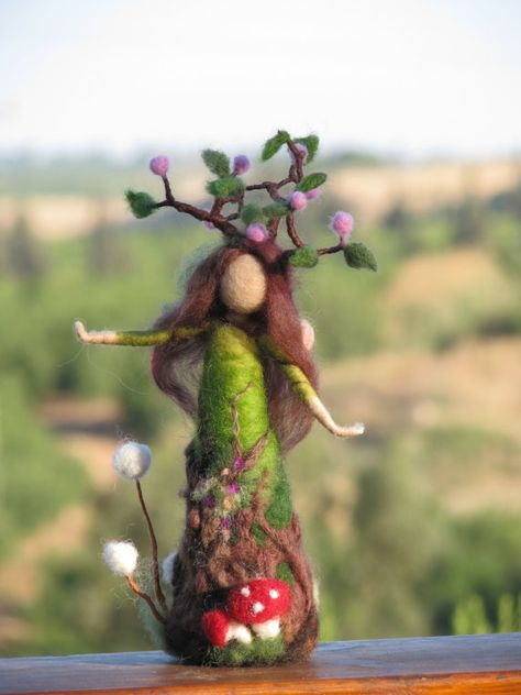 Needle felted tree guardian waldorf inspired by Made4uByMagic, $75.00