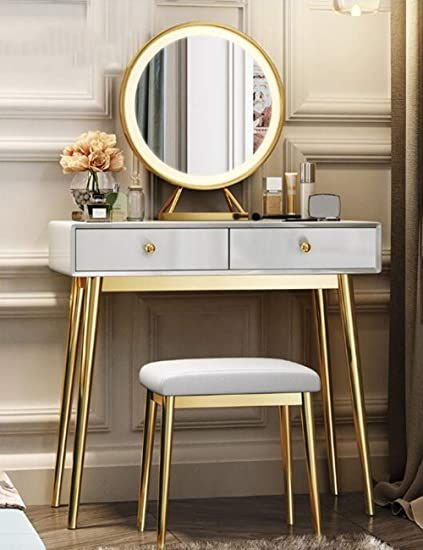 Lyjbd Barstools Large Storage Makeup Table Furniture With Mirror And 2 Drawers Dressing Table Set With In 2020 Dressing Table Set Table Furniture Modern Vanity Table