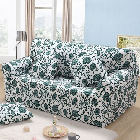 Aoguhome Store Green Flowers Printed Full Sofa Cover All Inclusive Stretch Sofa Slipcover Make Up For Single Double Three With Images Sofa Covers Couch Covers Printed Sofa