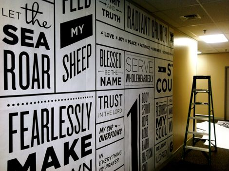 Typography posters pasted to wall Black white or in brand