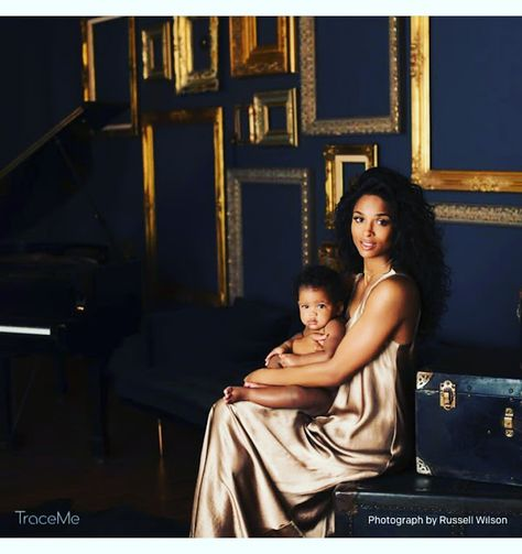 Ciara and Russell Wilson have shared the first pictures of their baby daughter Sienna Princess.The couple welcomed Sienna Princess together 10 months ago but have only just revealed the first picture of her to their fans, via their new app. Mother And Baby, Mom And Baby, Mommy And Me, Baby Love, Ciara And Future Baby, Black Mother, Mommy Daughter Photography, Ciara And Russell Wilson, Ciara Wilson
